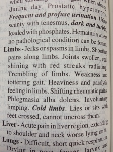 "Materia Medica on Belladonna regarding limbs.  Notice the bold, italicized, ""Cold limbs""?"