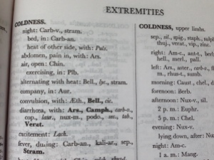 "Repertory section on coldness in extremities;  notice the boldface ""Bell."" [indicating the homeopathic remedy Belladonna] in the subcategory, with convulsions."